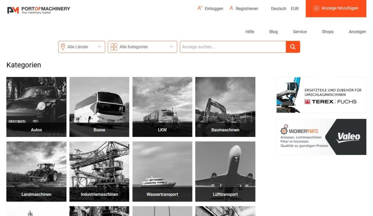 Port of Machinery -Handelsplattform für Maschinen aller Arten.